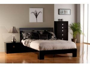 Modena 4ft6 Double Black High Gloss Bed