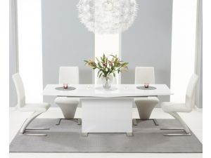 Marila 150cm White High Gloss Dining Table With 6 Hereford White Chairs