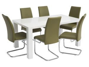 Monaco 1.3m White Gloss Dining Table with 4 Monaco Olive Green Leather Chairs