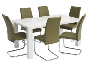 Monaco 1.6m White Gloss Dining Table with 6 Monaco Olive Green Leather Chairs