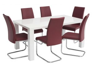 Monaco 1.6m White Gloss Dining Table with 6 Monaco Red Leather Chairs