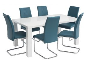 Monaco 1.6m White Gloss Dining Table with 6 Monaco Leather Chairs