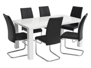 Monaco 1.6m Grey High Gloss Dining Table With 6 Monaco Pu Leather Chairs