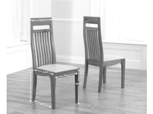 Monte Carlo Solid Oak Dining Chairs With Brown Leather Seat - Pair