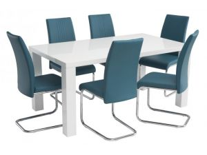 Monaco 1.2m White Gloss Dining Table with 4 Monaco Leather Chairs