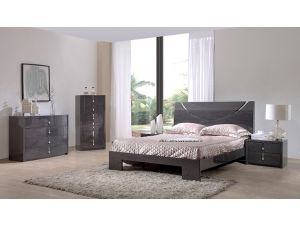 Monica Slate Grey High Gloss 4ft6 Double Bed