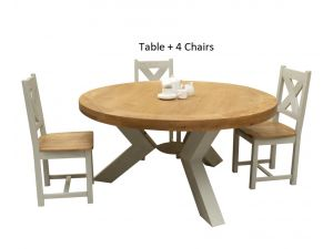 Monroe 160cm Round Oak Top Dining Table + Cross Back Chairs