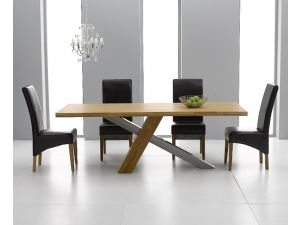 Montana 180cm Solid Oak Dining Table + 4 Roma Leather Chair Dining Set
