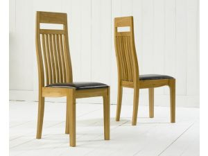 Monte Carlo Solid Oak Dining Chairs With Black Leather Seat - Pair