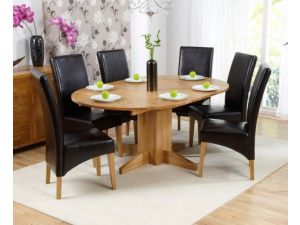 Madrid 240cm Solid Oak Extending Dining Table + 8 Rustique Slatted Chairs