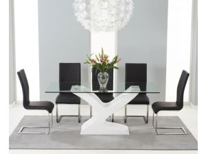 Natalie 180cm Glass Dining Table With 6 Malibu Black Leather Chairs