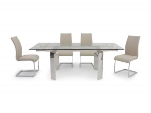 Fairmont Nataliya Ext Clear Glass Dining Table + 6 Paolo Chairs