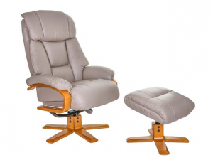 Nice Pebble Leather Swivel Recliner With Footstool