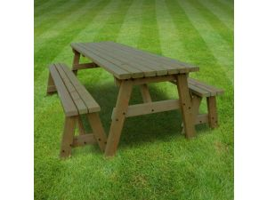 Rutland Oakham 4ft Rustic Brown Picnic Table And Bench Set