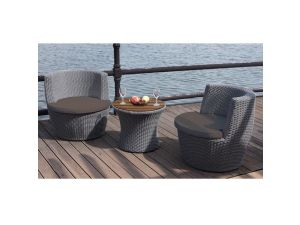 Oasis Tub Style 2 Seat Rattan Tea Set With Dark Grey Cushions
