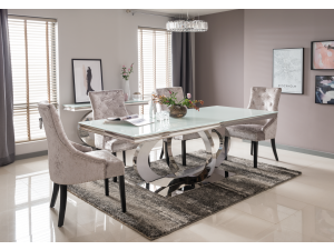 Orion 180cm White Glass Dining Table + Eden Silver Fabric Chairs