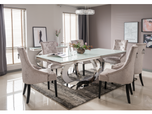 Orion 220cm White Glass Dining Table + Eden Silver Fabric Chairs