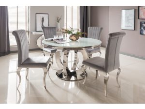 Orion 130cm Round White Glass Dining Table + 4 Nicole Silver Fabric Chairs
