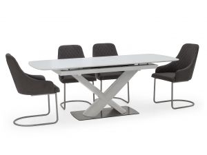 Orsina 160-200cm Ext. White Glass Dining Table + Urbino Grey Chairs