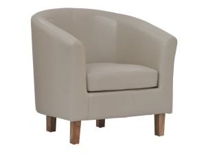 Oxford Ivory Faux Leather Tub Chair