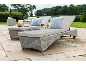 Maze Oxford Grey Rattan 3pc Sunlounger Set
