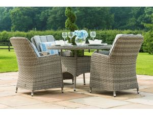 Maze Oxford Grey Rattan 4 Seat Round Dining Set With Venice Chairs