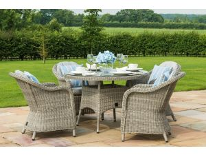Maze Oxford Grey Rattan 4 Seat Round Dining Set With Rounded Chairs