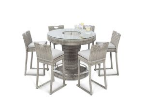 Maze Oxford Grey Rattan 6 Seat Round Bar Set With Ice Bucket