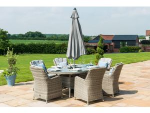 Maze Oxford Grey Rattan 6 Seat Oval Ice Bucket Set with Venice Chairs