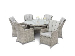 Maze Oxford Grey Rattan 6 Seat Round Dining Set With Venice Chairs