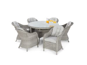 Maze Oxford Grey Rattan 6 Seat Round Dining Set With Rounded Chairs
