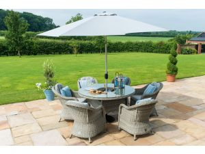 Maze Oxford Grey Rattan 6 Seat Round Ice Bucket Set with Heritage Chairs
