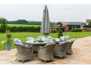 Maze Oxford Grey Rattan 8 Seat Oval Ice Bucket Set with Heritage Chairs