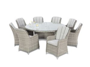 Maze Oxford Grey Rattan 8 Seat Round Dining Set With Venice Chairs