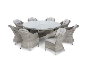 Maze Oxford Grey Rattan 8 Seat Round Dining Set With Rounded Chairs