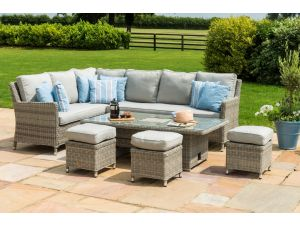 Maze Oxford Grey Rattan Corner Dining Set With Rising Table And Ice Bucket