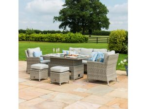 Maze Oxford Grey Rattan Sofa Dining Set With Rising Table And Ice Bucket