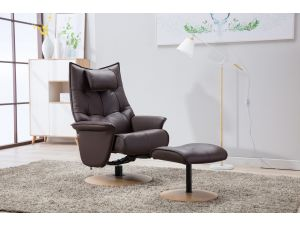 Palmera Brown Leather Swivel Recliner With Footstool