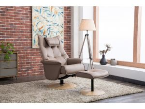 Palmera Earth Leather Swivel Recliner With Footstool