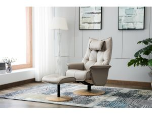 Palmera Pebble Leather Swivel Recliner With Footstool