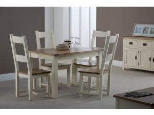 Panama Oak Top with Ivory Painted Dining Chair Oak Seat Pad