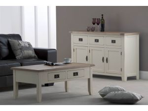 Panama Oak Top 1.35m with Ivory Painted Sideboard