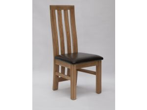 Paris Oak Dining Chair With Bycast Leather Seat Pad