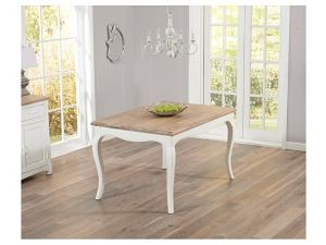 Sienna 130cm Acacia And Painted Ivory Square Fixed Dining Table