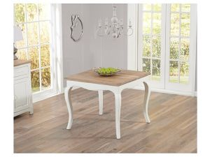Sienna 90cm Acacia And Painted Ivory Square Fixed Dining Table