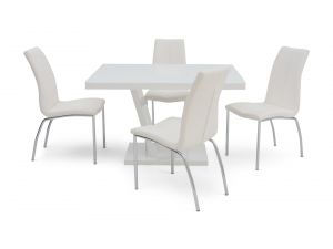 Fairmont Valentino White High Gloss Dining Table + 4 Ava Chairs