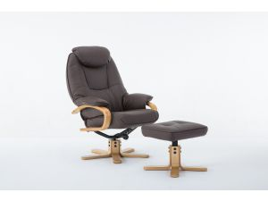 Pisa Brown Leather Swivel Recliner With Footstool