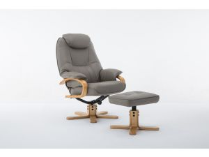Pisa Pebble Leather Swivel Recliner With Footstool