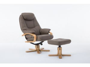 Pisa Truffle Leather Swivel Recliner With Footstool