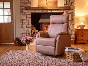 Positano Earth Leather Electric Swivel Recliner With Footstool